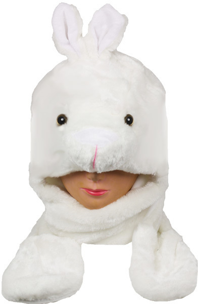 Case of [24] Kids' White Bunny Animal Hats with Mittens