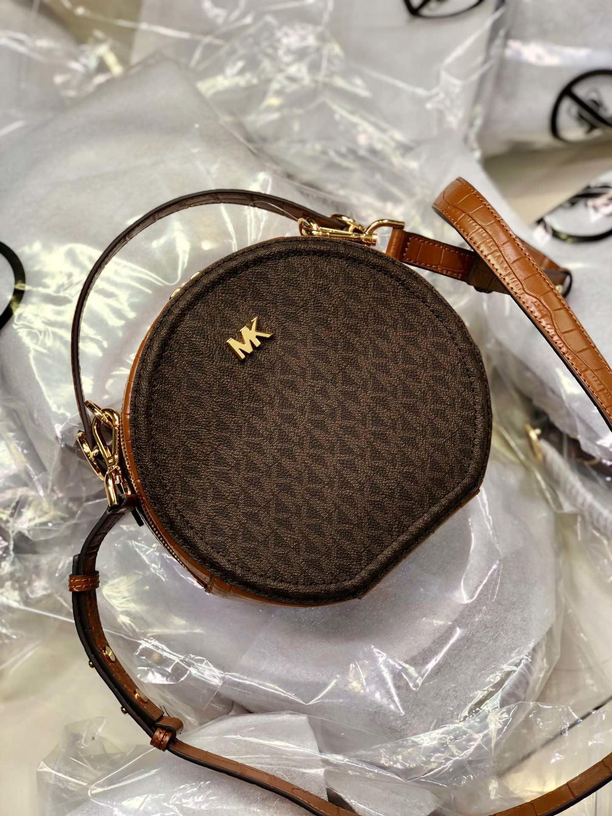 Michael Kors Delaney Medium Logo Canteen Crossbody Bag Brown