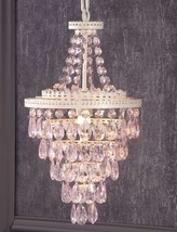 "19.7"" Pink Design Chandelier White Iron & Copper w Pink Acrylic Beads"