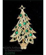 Eisenberg Ice Christmas Tree Pin White Glitter Green Rhinestones (#J1096) - $68.00