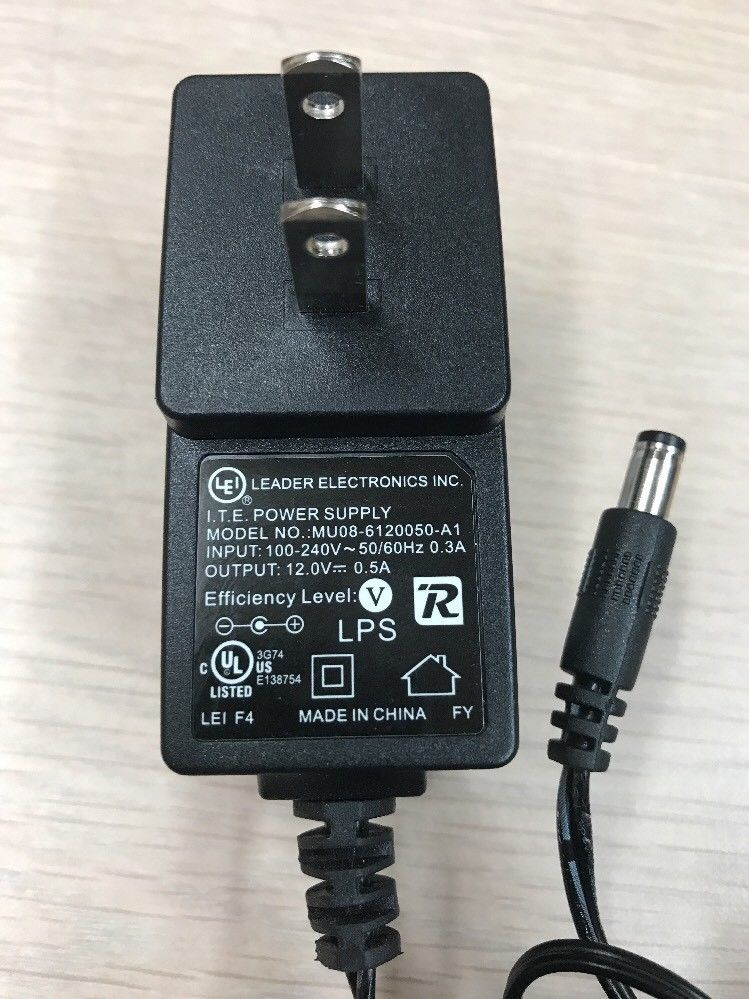 LEI MU08-6120050-A1 AC Power Supply Adapter Charger Output: 12V 0.5A         N3