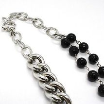 Necklace Silver 925, Double Row Onyx, Chain Curb , Heart Milled image 5
