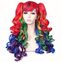 ColorGround Long Curly Cosplay Wig with 2 PonytailsRainbow Color - $31.65