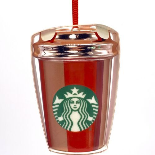 """Starbucks Red Cup Stripe Ornament Cold Cup 3"""" 2018 Holiday Collection"""