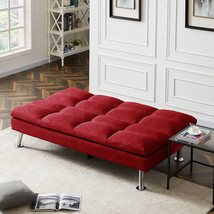 Seat Sofa Bed Modern FUTON Adjustable Red FABRIC Wood Frame COUCH Chanis... - $372.23