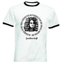 Jonathan Swift Blessed Quote - New Black Ringer Cotton Tshirt - $27.99