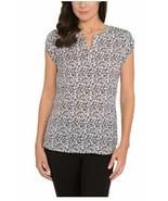Hilary Radley Ladies' Printed Blouse, White/Black/Gray, Size XL - $9.89