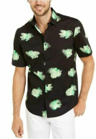 Alfani Men's Printed Abstract Classic Fit Stretch Button-Down Top MEDIUM NEW W/T