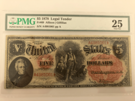 1878 $5 United States Note Graded by PMG as VF25 Fr #69 Allison/Gilfillan - $643.49