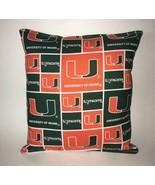Miami Pillow University Of Miami Hurricanes  Pillow HANDMADE In USA NCAA... - $9.99