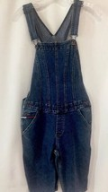 Vintage Women Tommy Jeans Hilfiger Denim Logo Overall Shorts Sz Med Drop... - $38.98