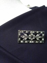 VINTAGE SILVERY PIN BROOCH FAUX MARCASITE LOOK WITH RHINESTONES - $25.00