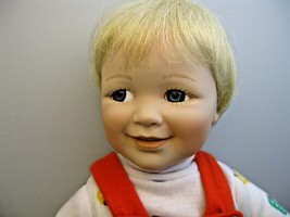Vtg Ashton Drake Jimmy Porcelain Doll Wearing Red Overalls Mary Tretter VGC - $14.84