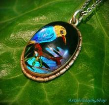 1920's Silver Brazilian Morpho Blue Butterfly Wing Pendant Kingfisher Pe... - $139.00
