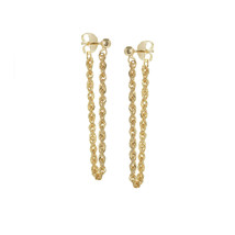 14K Solid Yellow Gold Fancy Twist Rope Chain Dangle Drop Post Earrings -  - $140.00