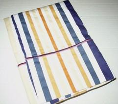 Royal Tradition Lillian King Pillowcase 100% Cotton 400TC Blue Gold Stri... - $8.42