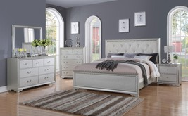 McFerran B508 Contemporary White Tufted King Size Bedroom Set 5Pcs