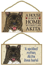 "Akita  Dog Sign Plaque 10"" x 5"" House Home Spoiled Lives Here Sign - $10.95"