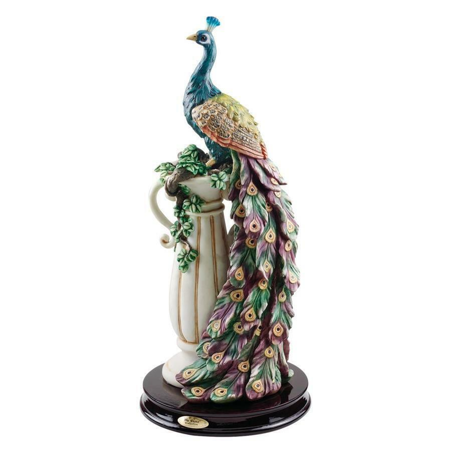 COLORFUL PEACOCK PLINTH PEDESTAL STATUE SCULPTURE Mom Wife Gift Whimsy Bird Art
