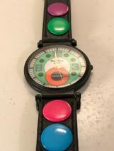Pierre Nicol Black & Neon Quartz Wristwatch Leather Vintage 1980's Not Tested - $9.46