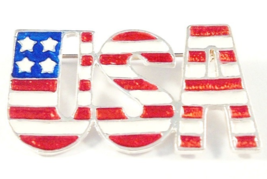 USA Enamel Pin Brooch Red White Blue Independence Day Silvertone Metal P... - $7.99