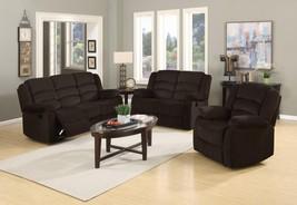 Global Furniture 9824 Contemporary Brown Microfiber Sofa Set 3 Pcs