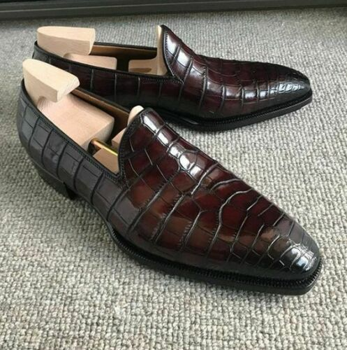 Handmade Men's Crocodile Texture Chocolate Brown Slip Ons Loafer Leather Shoes