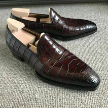 Handmade Men's Crocodile Texture Chocolate Brown Slip Ons Loafer Leather Shoes image 1