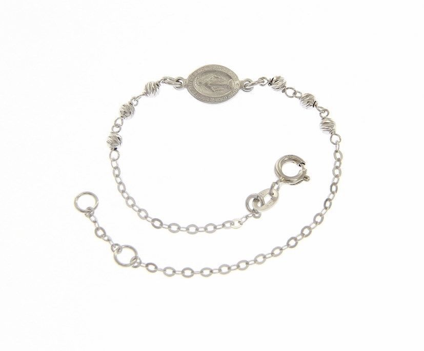 18 KT WHITE GOLD BRACELET FOR KIDS WITH MIRACULOUS MEDAL MADE IN ITALY 5.91 IN