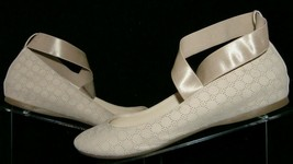 Jessica Simpson 'Mandayss' tan perforated criss cross wedge ballet flats 8.5M - $31.43