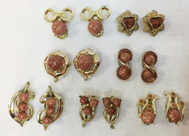 Clip On Earrings Goldstone Cabochon Stones Polished Gold Tone Metal YOU ... - $9.49