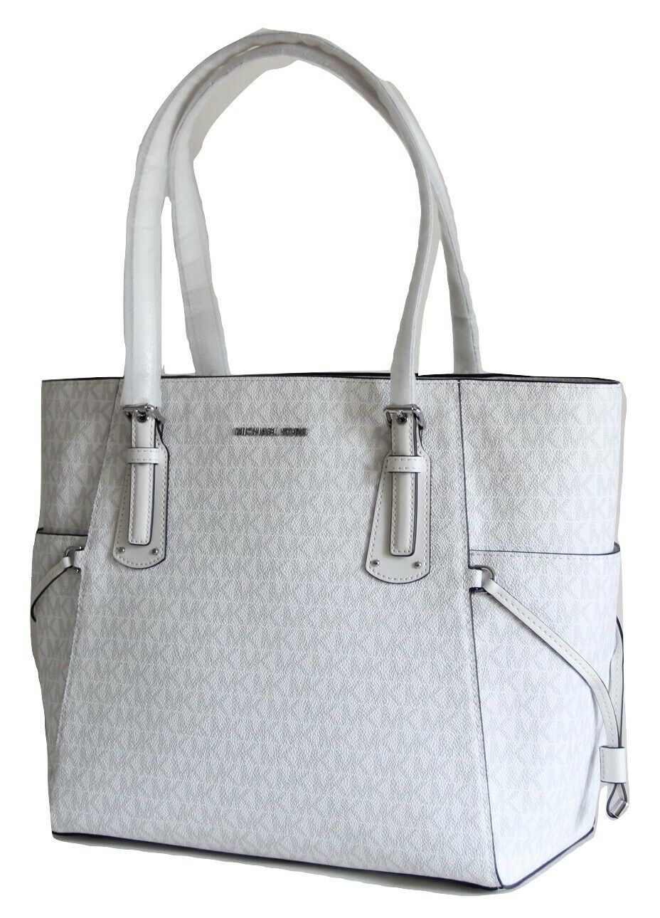 NWT MICHAEL KORS VOYAGER SIGNATURE EAST WEST TOTE BRIGHT WHITE image 4