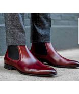 Handmade Men's Burgundy Ankle High Leather Chelsea Boots, Long Slip On B... - $159.97+