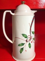 Lenox Holiday Nouveau Thermal Carafe Coffee Pot Holly Berry Christmas Table - $37.62