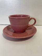 Fiesta Ware Rose Pink Teacup And Saucer Set - $12.99