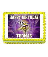 Minnesota Vikings Football Edible Cake Image Cake Topper - $8.98+