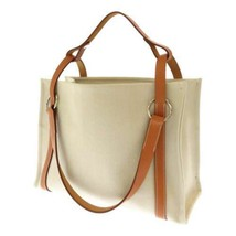 HERMES Sac Cabalicol Toile Chevron Calf Leather Beige Brown 2Way Tote Ba... - $952.45