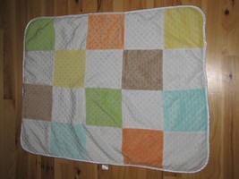 Just Born Minky Dot Square Orange Yellow Blue Green Baby Blanket Sherpa Patch - $22.76