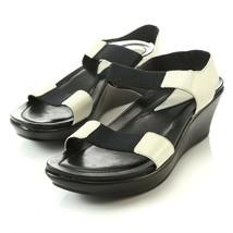 Dansko Black White Leather Elastic Wedge Sandals Slingbacks Womens 38 US 7.5 8 - $69.17
