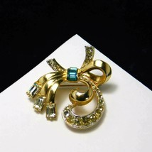 Vintage Coro Brooch Bow Blue White Rhinestones Gold Plate Pin Costume Jewelry - $65.80