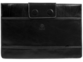 BLACK LEATHER LAPTOP SLEEVE - THE GOBLET OF FIRE by Time Resistance - $145.00