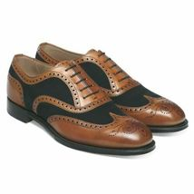Handmade Men's Brown Leather Black Suede Wing Tip Heart Medallion Oxford Shoes image 2