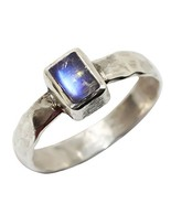Luna Azure Natural Rainbow Moonstone Rectangle Shape Ring for Women 4 - $27.63