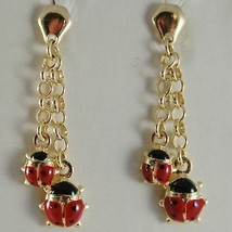 18K YELLOW GOLD PENDANT EARRINGS GLAZED DOUBLE LADYBIRD FOR KIDS MADE IN ITALY image 1