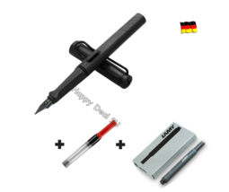 Lamy Safari Black Fountain Pen F Nib with Free Converter + 5 black T10 ink - $24.23