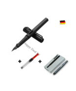 Lamy Safari Black Fountain Pen F Nib with Free Converter + 5 black T10 ink - $24.23