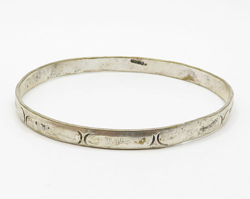 MEXICO 925 Sterling Silver - Vintage Slim Fish Pattern Bangle Bracelet - B2617