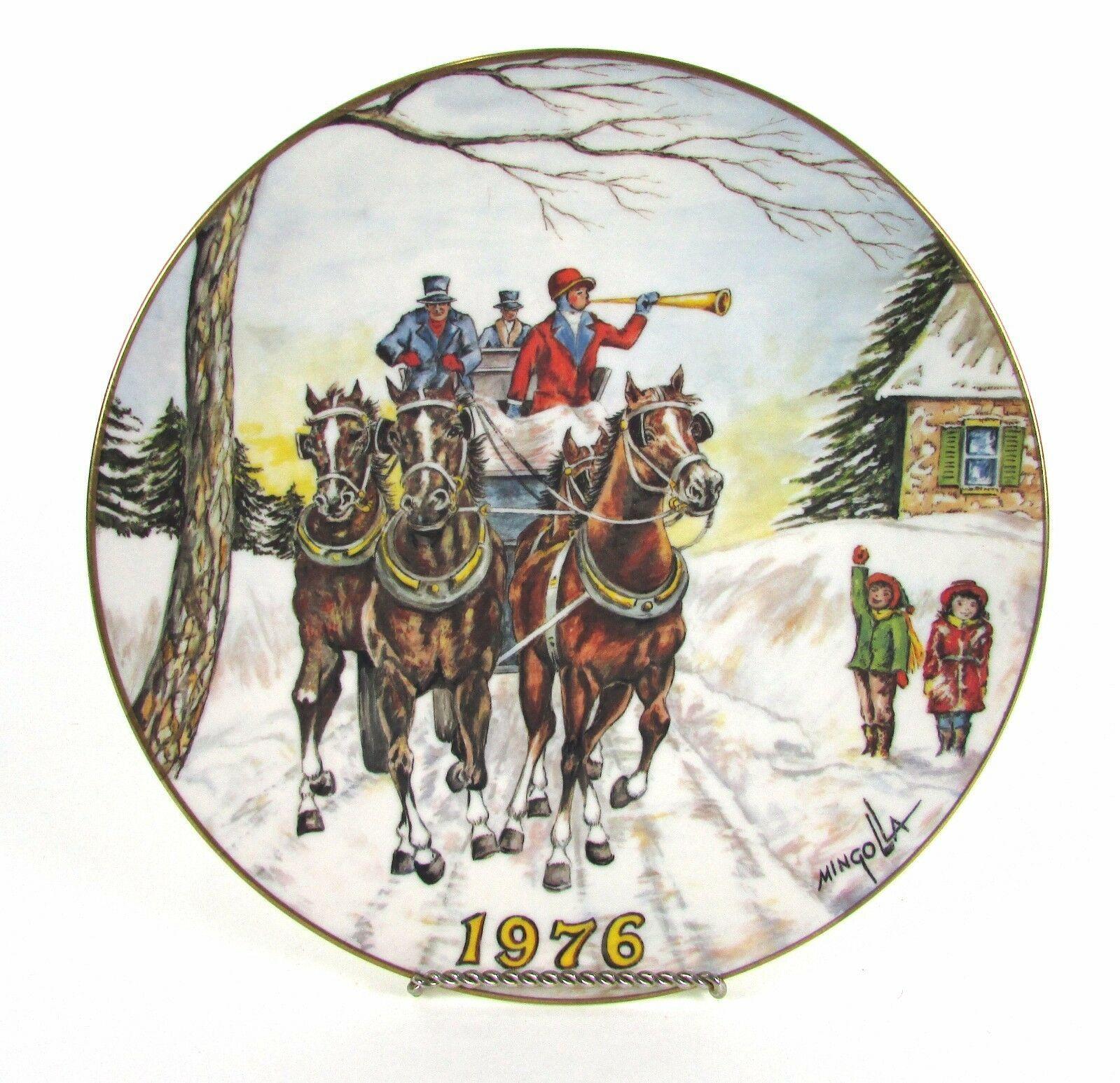 "Vintage 1976 Gorham "" DOM MINGOLLA "" Christmas Winter Horse Mingolla Plate - $5.70"