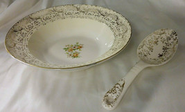 Vintage Royal China Warranted 22K Gold Serving Bowl & Spoon W/Floral Mot... - $11.99