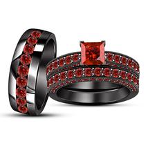 Wedding Band Engagement Ring Trio Set Red Garnet Black Rhodium Finish 925 Silver - $178.99
